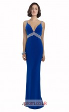 Blue Satin Chiffon Mermaid V-neck Long Prom Dress(JT3596)
