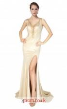 Champange Charmeuse Mermaid V-neck Long Prom Dress With Split Side(JT3598)