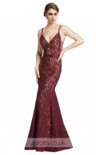 Dark Burgundy Lace Mermaid V-neck Long Prom Dress(JT3599)