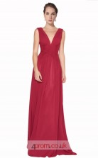 Burgundy Chiffon A-line V-neck Long Prom Dress(JT3601)
