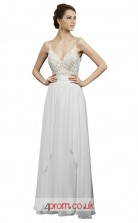 White Lace Chiffon A-line Straps Long Prom Dress(JT3603)