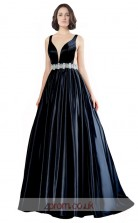 Dark Navy Stretch Satin A-line V-neck Long Prom Dress(JT3607)