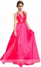 Deep Pink Stretch Satin A-line V-neck Long Prom Dress(JT3608)