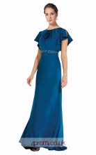 Turquoise Satin Chiffon A-line Jewel Short Sleeve Long Prom Dress(JT3611)