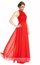 Orange Red Lace Chiffon A-line Halter Long Prom Dress(JT3613)