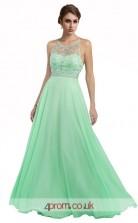 Light Blue Chiffon A-line Illusion Long Prom Dress(JT3616)