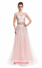 Pink Tulle Lace A-line Halter Long Two Piece Prom Dress(JT3622)