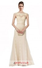 Beige Lace Mermaid Bateau Short Sleeve Long Prom Dress(JT3627)