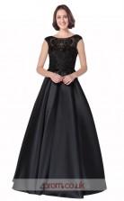 Black Satin Lace A-line Scoop Short Sleeve Long Prom Dress(JT3628)