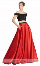 Firebrick Satin Lace A-line Off The Shoulder Short Sleeve Floor Length Two Piece Prom Dress(JT3635)