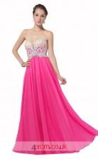 Hot Pink Chiffon Princess Sweetheart Floor Length Prom Dress(JT3640)