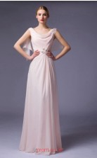 Blushing Pink Chiffon A-line Cowl Floor Length Prom Dress(JT3651)