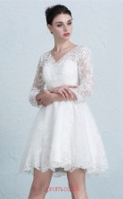 White Lace A-line V-neck 3/4 Length Sleeve Short/Mini Prom Dress(JT3656)