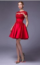 Light Burgundy Satin Lace A-line Jewel Short Sleeve Short/Mini Prom Dress(JT3658)