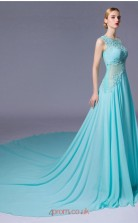Light Blue Chiffon A-line Illusion Floor Length Prom Dress(JT3662)