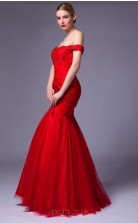 Red Lace Tulle Mermaid Off The Shoulder Short Sleeve Floor Length Prom Dress(JT3667)