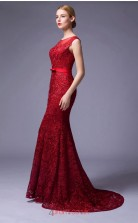 Burgundy Lace Mermaid Illusion Floor Length Prom Dress(JT3669)
