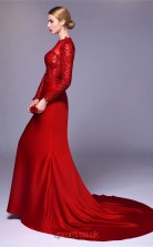 Burgundy Chiffon Lace Mermaid Illusion Long Sleeve Floor Length Prom Dress(JT3671)