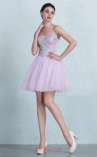 Lilac Lace Tulle A-line Off The Shoulder Short/Mini Prom Dress(JT3675)