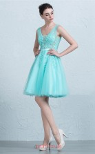 Light Blue Lace Tulle A-line Sweetheart Short/Mini Prom Dress(JT3677)