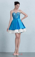 Turquoise Stretch Satin A-line Illusion Short/Mini Prom Dress(JT3678)