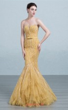 Gold Tulle Mermaid Sweetheart Floor Length Prom Dress(JT3681)