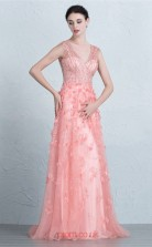 Candy Pink Tulle Mermaid V-neck Floor Length Prom Dress(JT3683)