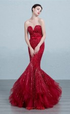 Burgundy Tulle Mermaid Sweetheart Floor Length Prom Dress(JT3686)