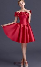 Burgundy Stretch Satin A-line Off The Shoulder Short Sleeve Short/Mini Junior Prom Dress(JT3695)