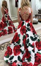 Multipatterned Satin V-neck A-line Court Train Celebrity Dress(JT3712)