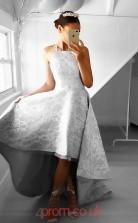 Silver Lace Straps Princess Long Celebrity Dress(JT3713)