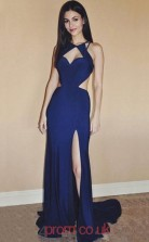Royal Blue Spandex Halter Sheath/Column Long Sex Prom Dress(JT3714)