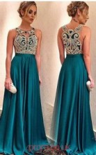 Turquoise Charmeuse Jewel A-line Floor-length Celebrity Dress(JT3716)