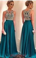 Turquoise Charmeuse Jewel A-line Floor-length Celebrity Dress(JT3716)