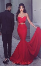 Red Satin Sweetheart Trumpet/Mermaid Floor-length Celebrity Dress(JT3718)