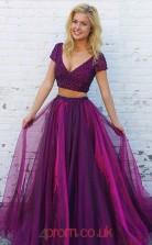 Dark Fuchsia 30D Chiffon V-neck Short Sleeve A-line Floor-length Two Piece Prom Dress(JT3723)
