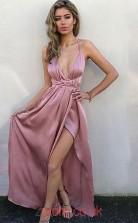 Nude Pink Satin Chiffon Halter V-neck A-line Floor-length Sex Prom Dress(JT3724)