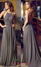 Dim Gray Chiffon Straps A-line Long Celebrity Dress(JT3736)