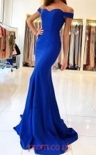 Light Royal Blue Satin Off The Shoulder Short Sleeve Trumpet/Mermaid Long Celebrity Dress(JT3737)