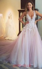 Blushing Pink Lace Tulle V-neck Princess Court Train Sex Prom Dress(JT3740)