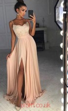 Nude Pink Satin Chiffon Straps A-line Long Celebrity Dress(JT3741)