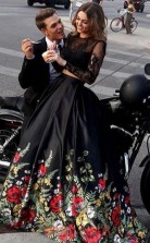Black Lace Satin Illusion Long Sleeve Ball Gown Long Two Piece Prom Dress(JT3754)