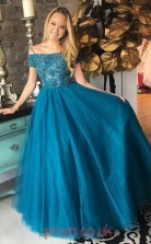 Dim Turquoise Tulle Off The Shoulder Short Sleeve Princess Long Celebrity Dress(JT3755)