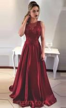 Burgundy Stretch Satin Lace Jewel A-line Long Celebrity Dress(JT3759)