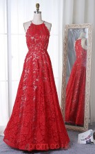 Red Lace Halter A-line Long Celebrity Dress(JT3765)