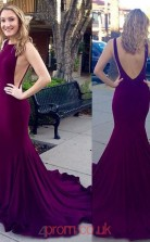 Purple Spandex Halter Trumpet/Mermaid Long Sex Prom Dress(JT3769)