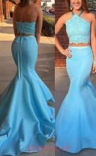Pool Satin Halter Trumpet/Mermaid Long Two Piece Prom Dress(JT3770)