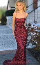 Burgundy Sequined Straps Trumpet/Mermaid Long Celebrity Dress(JT3782)
