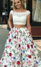 Multipatterned Satin Lace Bateau Short Sleeve Princess Long Two Piece Prom Dress(JT3787)