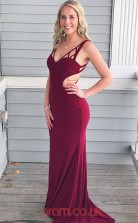 Dark Burgundy Spandex V-neck Trumpet/Mermaid Long Sex Prom Dress(JT3788)